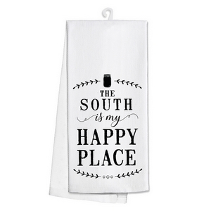 """White tea towel featuring """"The South is my Happy Place"""" printed on both sides. 100% cotton. Measures 25"""" x 19"""" when open."""