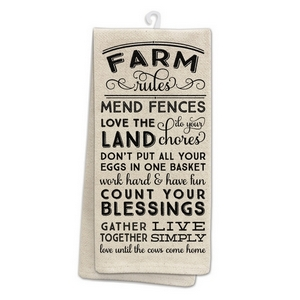 "Tan tea towel featuring ""Farm Rules"" printed on both sides. 100% cotton. Measures 25"" x 19"" when open."