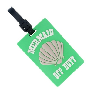 """Rubber luggage tag with name and address card, that says """"Mermaid Off Duty."""""""