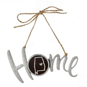 "Hammered silver tone ""Home"" on jute hanging cord featuring the state of Alabama. Can be used multiple ways - ornaments, gift tags, craft projects. Approximately 4"" in width."