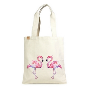 "Canvas tote bag with an inside pocket and pink flamingoes on the front. 100% cotton. Measures approximately 17"" x 14"" in size with an 11"" handle drop."