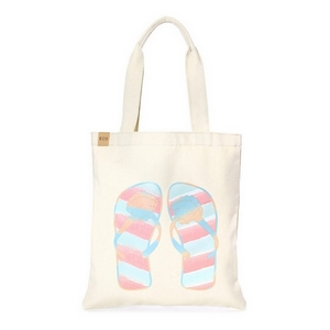 "Canvas tote bag with an inside pocket and peach and mint green flip flops on the front. 100% cotton. Measures approximately 17"" x 14"" in size with an 11"" handle drop."