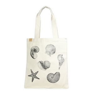 "Canvas tote bag with an inside pocket and seashells on the front. 100% cotton. Measures approximately 17"" x 14"" in size with an 11"" handle drop."