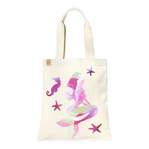 "Canvas tote bag with an inside pocket and a pink mermaid on the front. 100% cotton. Measures approximately 17"" x 14"" in size with an 11"" handle drop."