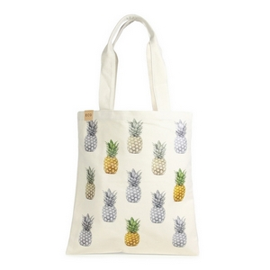 "Canvas tote bag with an inside pocket and pineapples on the front. 100% cotton. Measures approximately 17"" x 14"" in size with an 11"" handle drop."