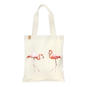 "Canvas tote bag with an inside pocket and peach flamingoes on the front. 100% cotton. Measures approximately 17"" x 14"" in size with an 11"" handle drop."