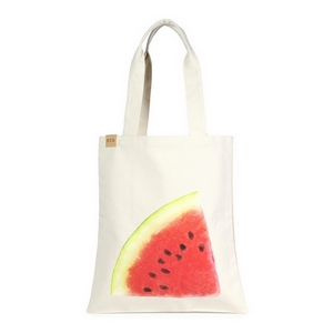 "Canvas tote bag with an inside pocket and a watermelon on the front. 100% cotton. Measures approximately 17"" x 14"" in size with an 11"" handle drop."
