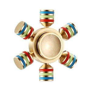 Heavy duty pure copper fidget spinner with six adjustable wings that adjust to 4 different spinner variations. Stainless steel bearings provide super long spin times to keep you fidgeting with little effort. Pocket sized with a fluorescent circle on the six arms, this spinner will glow in the dark energized by normal light. Comes with storage pouch with zipper closure.