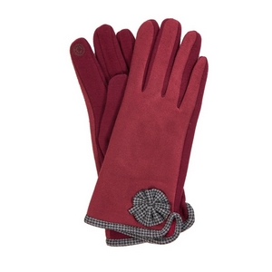 Burgundy 'smart gloves' with houndstooth trim.