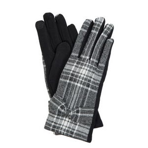 Gray and white plaid 'smart gloves' with a bow accent.