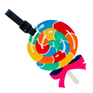 Rubber luggage tag in the shape of a lollipop with a name and address card on the back.