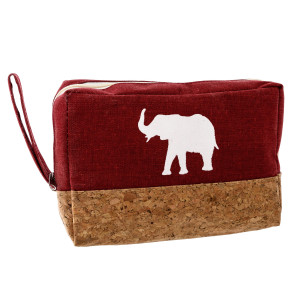 """Crimson canvas and cork zipper pouch with a white elephant. Measures 8"""" x 5.5"""" in size."""