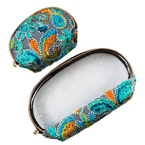 "Set of two zipper bags that can be used for makeup, travel, or at the beach, with an embroidered paisley print. Large bag is 9"" x 6"" in size and small bag measures 6"" x 4"" in size."