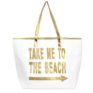 "White, ""take me to the beach"" tote bag with faux leather handles and a top zipper closure. 100% paper. Measures 20"" x 14"" in size."