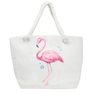 "Canvas tote bag with a flamingo print, top zipper closure, rope handles and a lining inside with pockets. 35% cotton and 65% polyester. Measures 21"" x 15"" in size."