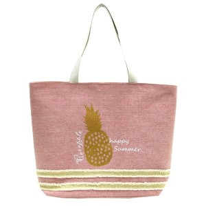 "Glitter pineapple printed tote bag with a fully lined interior, magnetic closure, and inside pocket. Measures 20"" x 15"" in size with a 10"" shoulder drop. 55% cotton and 45% polyester."
