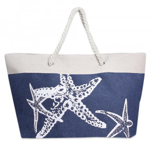 "Canvas tote bag with a starfish pattern, top zipper closure, rope handles and a lining inside with pockets. 35% cotton and 65% polyester. Measures 21"" x 15"" in size."