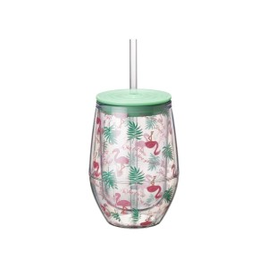 Sip back and relax! Enjoy your favorite drink from this 12oz Stemless Acrylic Wine Cup with a fun Flamingo/Palm Tree pattern. This tropical stemless wine cup will have you pouring seconds and thirds!  • Capacity: 12oz • Includes Acrylic Straw • BPA Free • Double-Walled Insulation • Hand Wash Recommended