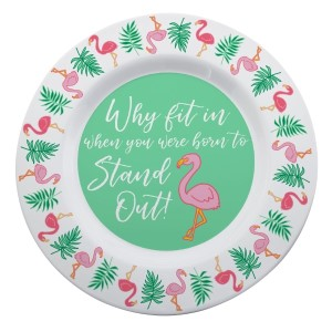 "Share the love of summer with this uniquely designed Pink Flamingos and Palm Leaves Melamine Platter! This tropical inspired design with the saying ""Why Fit In When You Were Born to Stand out"" makes a perfect summer gift for a friend or keep it for yourself and enjoy the tropics using your own summer party plate-wear!  • 14"" Diameter • Dishwasher Safe • Microwave Safe"