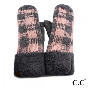 C.C MT-55 Buffalo check mittens   - 100% Acrylic - One size fits most