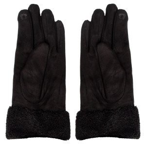 Suede touch screen gloves with faux fur cuffs.