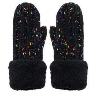 Cable knit mittens with fuzzy trim. 65% acrylic and 35% wool.   One size fits most.