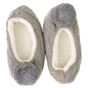 Keep your feet warm with these very comfy cable knit fuzzy slippers with pom pom detail. Fits women's size 6-7.