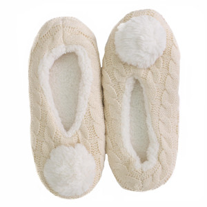 Keep your feet warm with these very comfy cable knit fuzzy slippers with pom pom detail. Fits women's size 7-8(L/XL).
