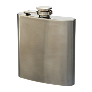 Silver tone stainless steel 6 oz. flask. Dimensions are 4'' x 3.75''. Can be monogrammed or covered with one of our game day neoprene flask covers. FLASK COVERS SOLD SEPARATELY.  Perfect for vinyl monogramming!
