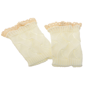 "8"" White tone crochet boot toppers featuring an ivory lace rimmed top."