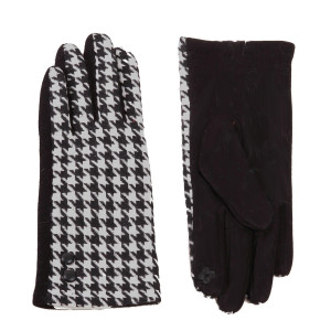 Houndstooth touch screen gloves with button details.  - One size fits most  - 65% Cotton, 35% Polyester