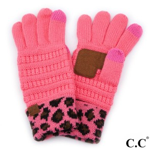 C.C G-80 Solid ribbed glove with leopard print cuff  - 100% Acrylic - One size fits most - Matches C.C HAT-80, SF-80, HW-80, G-80, KIDS-80 and MT-80-KIDS