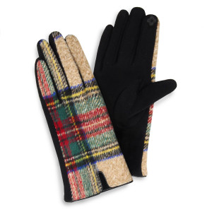 Tartan plaid gloves.  - One size fits most - 100% Polyester