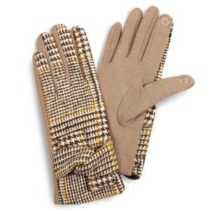 Glen check knot gloves.  - One size fits most - 100% Polyester