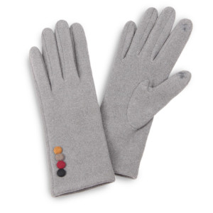 Faux suede touch screen gloves with button deco details.  - One size fits most - 100% Polyester