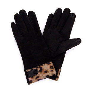 Leopard print trim touch screen gloves.  - One size fits most - 100% Polyester