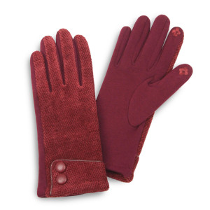 Chenille feel touch screen gloves with button details.  - One size fits most - 100% Polyester