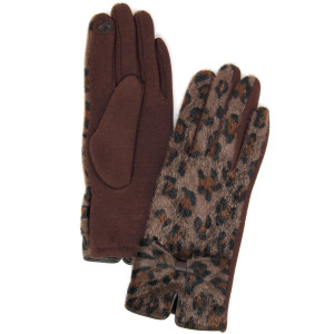 Fuzzy leopard print touch screen gloves with bow tie detail.  - One size fits most - 60% Polyester, 40% Cotton