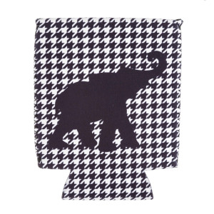 Insulated neoprene houndstooth elephant print coozie with side stitch details.  - Fits a standard 12 oz. can