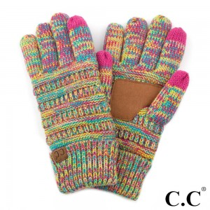 C.C G-710 Multicolor ribbed knit smart touch gloves with inside fuzzy lining  - 100% Acrylic - One size fits most