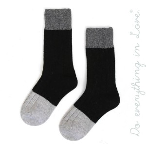 Do everything in Love brand color block ribbed knit tall socks.  - One size fits most women's 6-9 - 35% Wool, 65% Acrylic