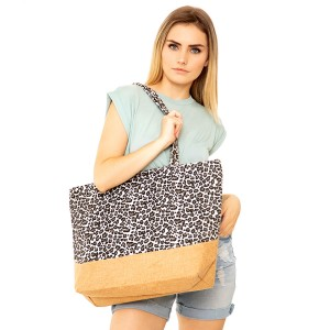 """Leopard print canvas beach bag.  - Zipper closure - One inside open pocket - Approximately 20."""" W x 14"""" T  - Strap length 12"""" - 100% Polyester"""