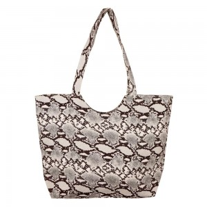 """Snakeskin tote bag.  - Zipper closure - One inside open pocket - Approximately 19.5"""" W x 14"""" T  - Strap length 12"""" - 100% Polyester"""