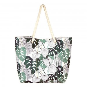 """Palm leaf tropical canvas beach bag with rope strap details.  - Button closure - One inside open pocket - Approximately 20.5"""" W x 16"""" T  - Strap length 12"""" - 60% Cotton, 40% Polyester"""