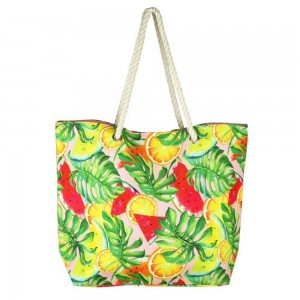 """Tropical fruit mix canvas beach bag with rope strap details.  - Button closure - One inside open pocket - Approximately 20.5"""" W x 16"""" T  - Strap length 12"""" - 60% Cotton, 40% Polyester"""