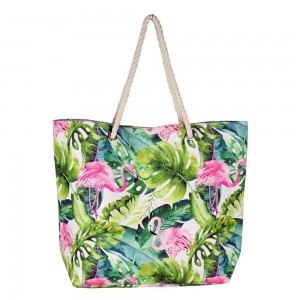 """Tropical flamingo canvas beach bag with rope strap details.  - Button closure - One inside open pocket - Approximately 20.5"""" W x 16"""" T  - Strap length 12"""" - 60% Cotton, 40% Polyester"""