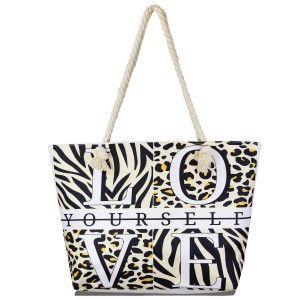 """""""Love Yourself"""" multi animal print tote bag with rope handles.  - Open inside pocket - Zipper closure - Rope handles - Approximately 22"""" W x 14"""" T - Handles 12"""" L - 65% Polyester, 35% Cotton"""