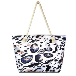 """Animal print tote bag with rope handles.  - Open inside pocket - Zipper closure - Rope handles - Approximately 22"""" W x 14"""" T - Handles 12"""" L  - 65% Polyester, 35% Cotton"""