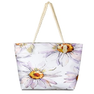 """Jumbo flower print tote bag with rope handles.  - One inside pocket  - Zipper closure - Rope handles - Approximately 22"""" W x 14"""" T - Handles 12"""" L - 65% Polyester, 35% Cotton"""