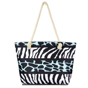 """Multi animal print tote bag with rope handles.  - Open inside pocket  - Zipper closure - Rope handles - Approximately 22"""" W x 14"""" T - Handles 12"""" L - 65% Polyester, 35% Cotton"""